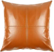 com faux leather pillow cover