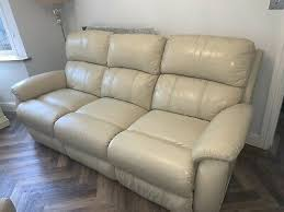 dfs cream leather reclining sofa 100