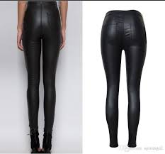 pu leather trousers black skinny