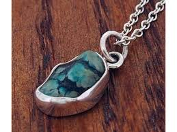 rustic turquoise silver pendant 315
