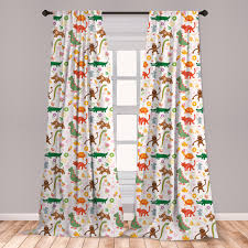 East Urban Home Ambesonne Animals Curtains Jolly Cartoon Animals Colorful Flowers And Hearts For Cheerful Babies And Children Window Treatments 2 Panel Set For Living Room Bedroom Decor 56 X 63 Multicolor