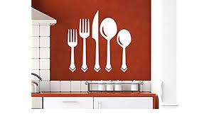 Amazon Com Wall Decal Vinyl Sticker Decals Knife Fork Spoon Vintage Pattern Cutlery Dining Room Cafe Kitchen Decor Interior Window Decal Art Murals C430 Home Kitchen