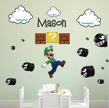 Luigi Custom Name Wall Decal Bedroom Decor Super Mario Wall Decal Stic American Wall Designs