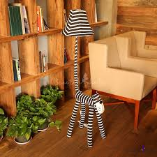 Strips Fabric Shade Standing Light With Black And White Cartoon Cat 1 Light Floor Lamp For Kids Room Beautifulhalo Com