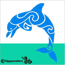 Curly Dolphin Decal Made From Top Quality External Grade Vinyl