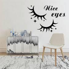 Nice Eyes Wall Decal Window Glass Vinyl Sticker Beauty Salon Interior Decor Woman Eyelashes Lashes Eyebrows Mural Art Wl1567 Wall Stickers Aliexpress
