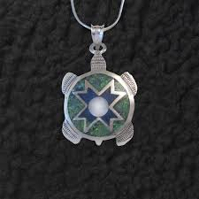 turtle pendant necklace with lapis by