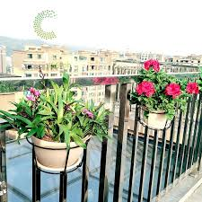 Hanging Plant Iron Racks Balcony Round Flower Pot Rack Railing Fence Outdoor Black White Shopee Philippines