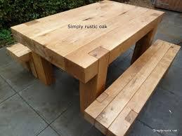 rustic oak beam garden table oak