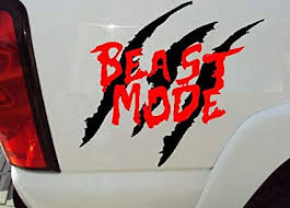 Amazon Com Bestpriceddecals Beast Mode Auto Decal 13 X 15 Red And Black Home Kitchen