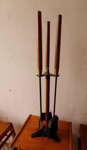 mid century modern fireplace tool set