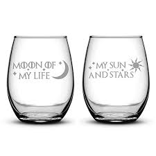 wine glasses set of 2 moon of my life