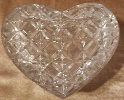 vintage heart shaped cut glass crystal