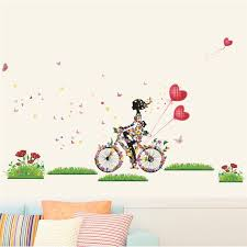 Flower Fairy Wall Stickers For Girls Room Girl Cycling Wall Decals Butterfly Flowers Heart Balloon Art Home Decor Diy Mural Fairy Wall Stickers Wall Stickerstickers For Aliexpress