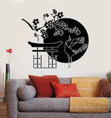 Vinyl Wall Decal Japanese Bird Stork Tree Sakura Branch Oriental Decor Wallstickers4you