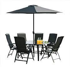 6 seater set black w 1 5m round table