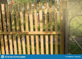 Rustic New Wooden Fence With Black Metal Posts And Gates Garden And Vegetable Garden Fence On A Sunny Summer Day Against The Stock Photo Image Of Design Fence 156608254
