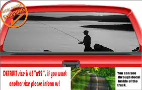 W1037 Fishing Rod Fish Hunting Sea Wrap Perforated Car Decal Rear Window Sticker Lavky Com