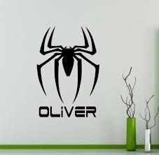 Custom Personalized Name Spider Man Logo Wall Decal Vinyl Removable Sticker Custom Decals Home Decor Removable Decor Wall Art Wall Art Decoration Wallhome Decor Aliexpress