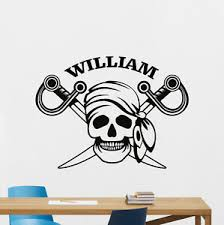 Custom Name Pirate Skull Wall Decal Personalized Vinyl Sticker Art Mural 315xxx Ebay