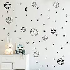 Amazon Com Melissalove Planet Wall Sticker Kids Room Removable Diy Solar System Wall Decor Decals Astronomy Nursery Art Stickers Space Decoration Zb578 Black Home Kitchen