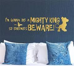 Amazon Com Lion King Wall Decal Cartoon Simba Wall Art Sticker I M Gonna Be A Mighty King So Enemies Beware Playroom Nursery Mural Decor Home Kitchen