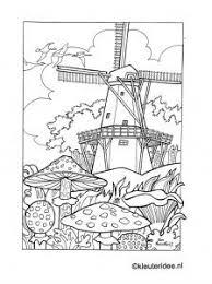 Kleurplaat Herfst In Nederland Paddestoelen Molen Kleuteridee