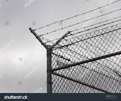 Corner Post Chainlink Fence Topped Barbed Stock Photo Edit Now 2071126
