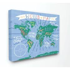 The Kids Room By Stupell Kids World Map Colorful Nursery Design Canvas Wall Art By Daphne Polselli Walmart Com Walmart Com