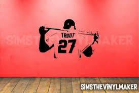 Mike Trout Decal Baseball Player Decal Baseball Wall Art Vinyl Sticker Ebay