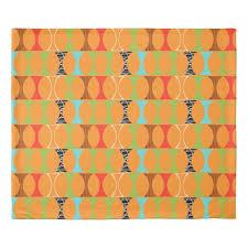 mid century modern orange pattern duvet