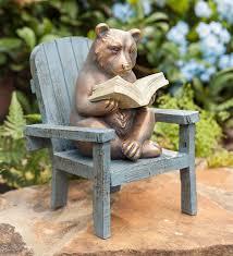 reading bear garden statue plowhearth