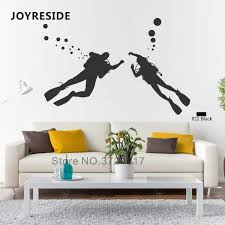 Joyreside Scuba Diver Diving Wall Sticker Decals Ocean Sea Vinyl Decor Kids Boys Girls Room Bathroom Interior Design Mural A1269 Aliexpress