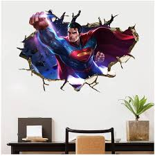 3d Superman Breakthrough Smashed Wall Sticker Decal Decor Poster Removable D171 Wall Stickers Aliexpress