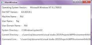 system environment information in wpf