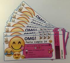 Emoji Ticket Style Invitations Invitaciones Emoji Cumpleanos