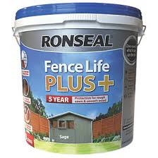 Ronseal Fence Life Plus Shed Fence Treatment Sage 9ltr Fence Paint Screwfix Com