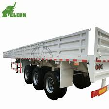 China 3 Axle High Bed Flatbed Deck Cargo Fence Semi Trailer With Side Board Wall China Side Board Trailer 3 Axle Trailer