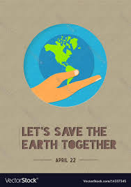 happy earth day paper cut world quote royalty vector
