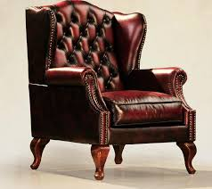 antique classic leather queen anne wing
