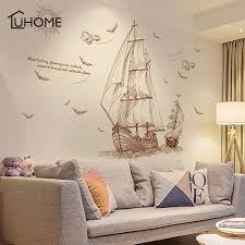 Sailboat Wall Decal Voyage Seabirds Landscape Wall Stickers Home Decor Wood Iron Copper Craft