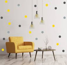 Yellow And Grey Polka Dot Wall Decals Removable Wallpaper Etsy