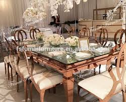 metal gold frame banquet dining table