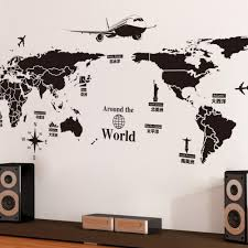 New Creative World Travel Map Wall Stickers Black Printed Sticker Bedroom Home Decor Poster Diy Removable Wall Decal Canada 2020 From Chairdesk Cad 10 79 Dhgate Canada