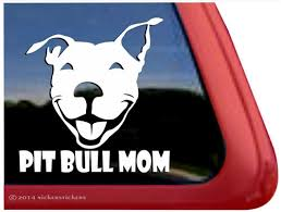 Pit Bull Mom Smiling Pit Bull Terrier Dog Decals Stickers Nickerstickers