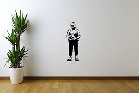 Amazon Com Wonderdecals Banksy Wall Decal Soldier Smile Street Art Vinyl Stickers Mural Mm1854 Home Kitchen