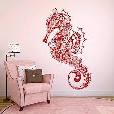 Amazon Com Vinyl Sea Horse Wall Decal Marine Fish Wall Sticker Sea Animal Wall Decal Ocean Fish Mural Home Art Decor Tomato Red Home Kitchen