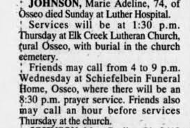 Obituary for Marie Adeline JOHNSON (Aged 74) - Newspapers.com