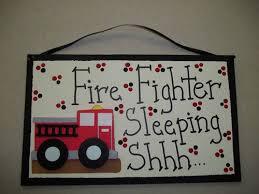 Firetruck Fire Fighter Sleeping Shhh Door Sign Nursery Decor Wood Sign New  | eBay | Baby door signs, Nursery signs, Firefighter baby