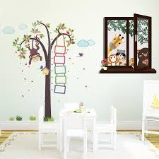 Walplus Nursery Monkey Height Measure And Window View Of Animal Friends Wall Decal Wayfair
